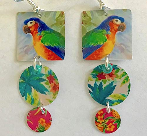 Tropical Boho Earrings Parrot Cruise Wear, Tropical Island, Colorful Exotic Earrings, Artist Designed, Handmade From Metal Matching Bracelet Available