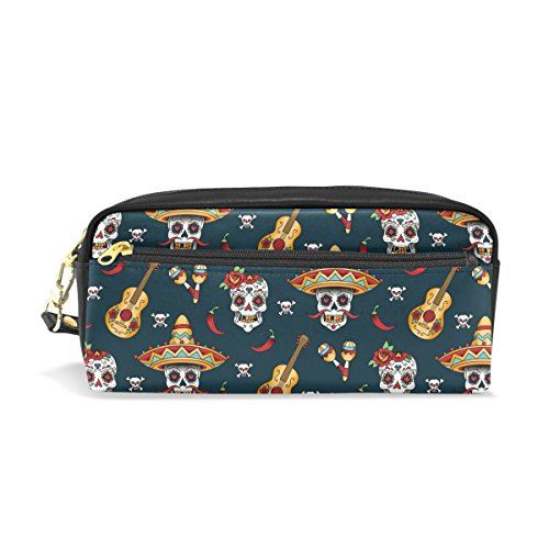 PU Leather Day of the Dead Halloween Fashion Floral Sugar Skull, Guitar and Candy Zipper Pencil Bag Pouch Pen Case Small Makeup Cosmetic Bag Portable Storage Organizer]()