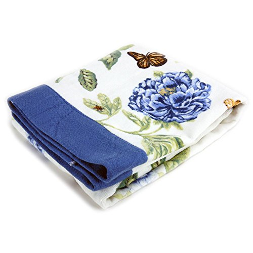 Lenox Printed Bath Towel, Blue Floral Garden (Floral Bath Towels)