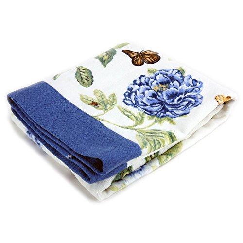 Towel Garden Butterfly Bath (Lenox Printed Bath Towel, Blue Floral Garden)