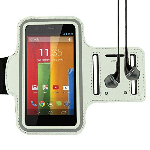 - Adjustable Neoprene Workout Armband for Mototola Moto E e / Moto G / Moto G / Motorola Droid RAZR and more MOTOROLA smartphone (White)