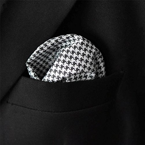 Shlax&Wing Checked Black White Handkerchieves Mens Neckties Hanky Pocket Square