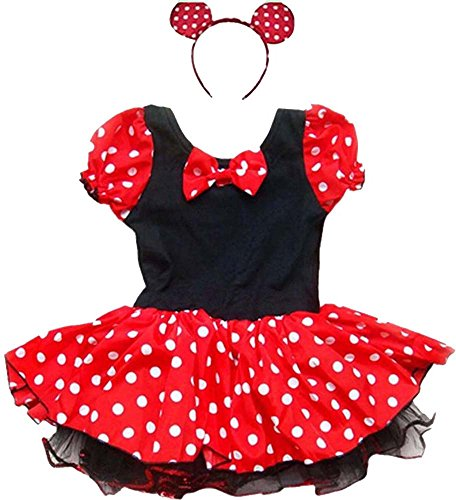 Fashion Queen Little Girls Cute Mouse Cosplay Dress Halloween Costume With Headband (Cute Little Girl Halloween Costumes)