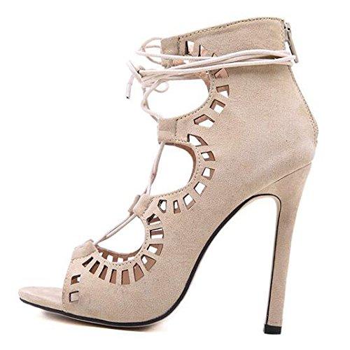 Femmes Dames Peep Toe Sandales à Talons Hauts Creux Dentelle Sandales pour La Robe De Soirée De Mariage Chaussures Beige dV9XCrRbX