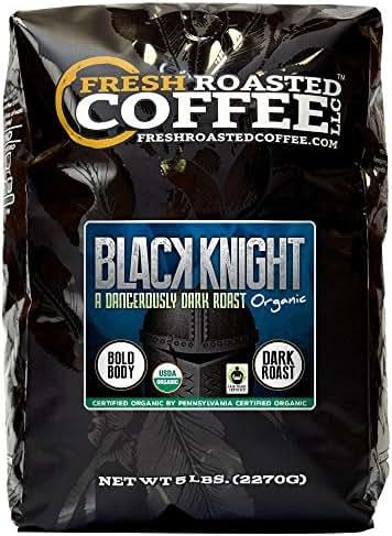 Fresh Roasted Coffee LLC, Black Knight Organic Coffee, Artisan Blend, Dark Roast, Fair Trade, USDA Organic, 5 Pound Bag