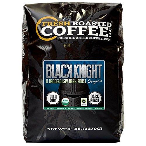 Organic Black Knight Dark Roast Coffee, Artisan Blend, Fair Trade, Whole Bean Bag, Fresh Roasted Coffee LLC. (5 LB.) (Black Roast)