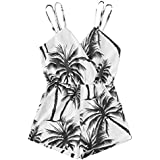 Romwe Women's Sleeveless Mid Waist Coconut Palm Tree Graphic Printed Backless Short Cami Romper Jumpsuit Black White M