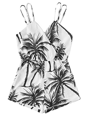 c9eba872c88c Romwe Women s Sleeveless Mid Waist Coconut Palm Tree Graphic Printed  Backless Short Cami Romper Jumpsuit
