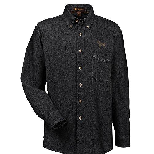 YourBreed Clothing Company Labrador Chocolate Embroidered Men's 100% Cotton Denim Shirt - Labrador Denim Shirt