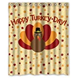 abigai Thanksgiving Happy Turkey Day Waterproof Bathroom Fabric Shower Curtain,66x72inch