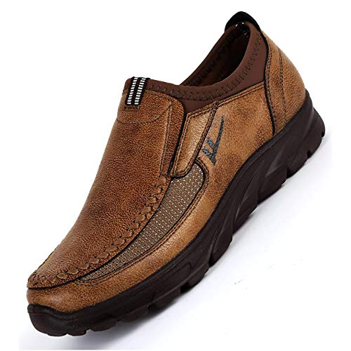 Qiucdzi Mens Loafers Casual Leather Comfortable Shoes Lightweight Slip on Flat Walking Sneakers Large Size (10 M US, Brown)