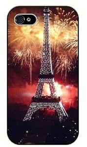 iPhone 4 / 4s Eiffel Tower fireworks - black plastic case / Paris, France
