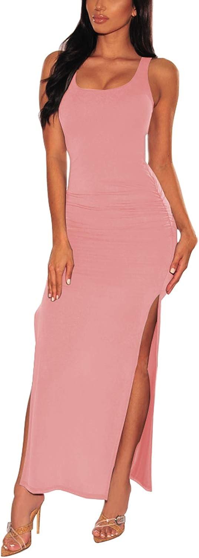 Viottiset Damen Kleider Elegant Maxikleid /Ärmellos Abendkleider mit Geteilter