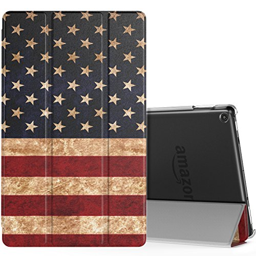 MoKo Case for All-New Amazon Fire HD 10 Tablet (7th Generation, 2017 Release) - Smart Shell Stand Cover with Auto Wake/Sleep & Translucent Frosted Back for Fire HD 10.1 Inch - Translucent Flags