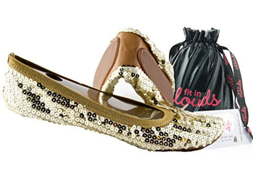 Sequin Foldable Portable Flats That fold and fit in a Bag (6, Gold)