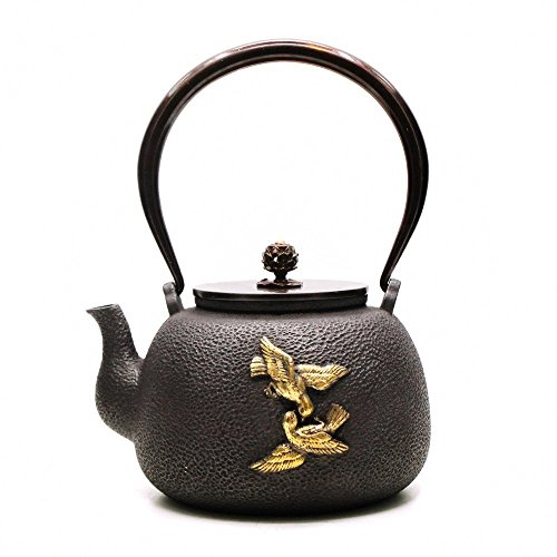 TOWA Workshop Japanese Style Cast Iron Kettle Tetsubin Teapot with Strainer Black 44 oz (1.3L)