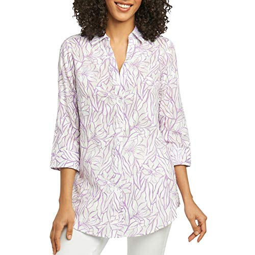 Print Shirt Foxcroft Fitted (Foxcroft Womens Floral Print Long Sleeves Blouse Purple 4)