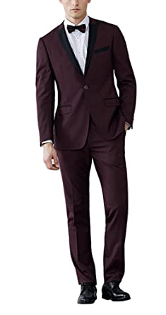 Newdeve Mens Burgundy 2 Pieces Groom Suits One Button Wedding