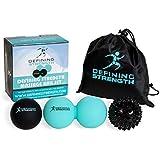 Top 3 Massage Balls Set, Spiky, Lacrosse ball, Peanut Muscle Roller Massager. Ideal for Self Myofascial Trigger Point Release, Acupressure, Plantar Fasciitis, Reflexology for Physio, Back, Legs & Feet