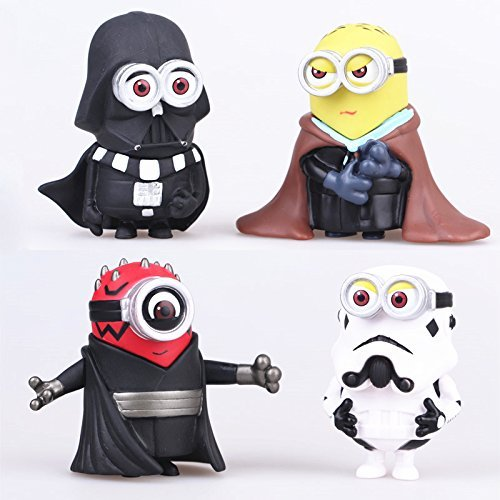 4PCS Minions Star Wars Despicable Me Darth Vader Maul Trooper Cos Action Figure Toys