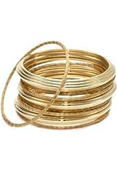 Nugaard Set of 9 Golden Grass and Gold Plated Bangle Bracelet