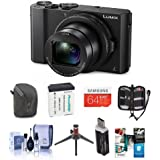 Adorama Panasonic Lumix DMC-LX10 Digital Camera, 20MP 1 Sensor - Bundle with 64GB SDXC Card, Camera Case, Spare Battery, Cleaning Kit, Memory Wallet, Table Top Tripod, Card Reader, Software Package