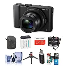 "Adorama Panasonic Lumix DMC-LX10 Digital Camera, 20MP 1"" Sensor - Bundle with 64GB SDXC Card, Camera Case, Spare Battery, Cleaning Kit, Memory Wallet, Table Top Tripod, Card Reader, Software Package"