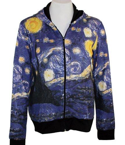 Breeke & Company Starry Night Hand Silk-Screened, Cotton Micro Blend Hoodie (... (Blend Style Rhone)