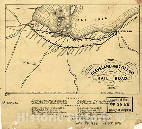 Historic 1855-1856 Map   Cleveland and Toledo Rail-Road 1856. 36in x 32in