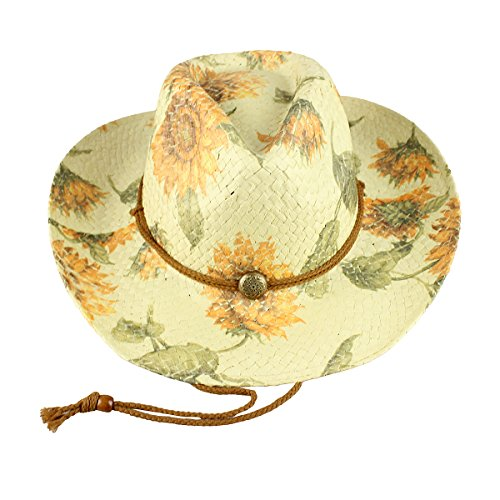 Flowered Cowgirl Hat Environmentally Friendly Paper Straw (Sunflowers)