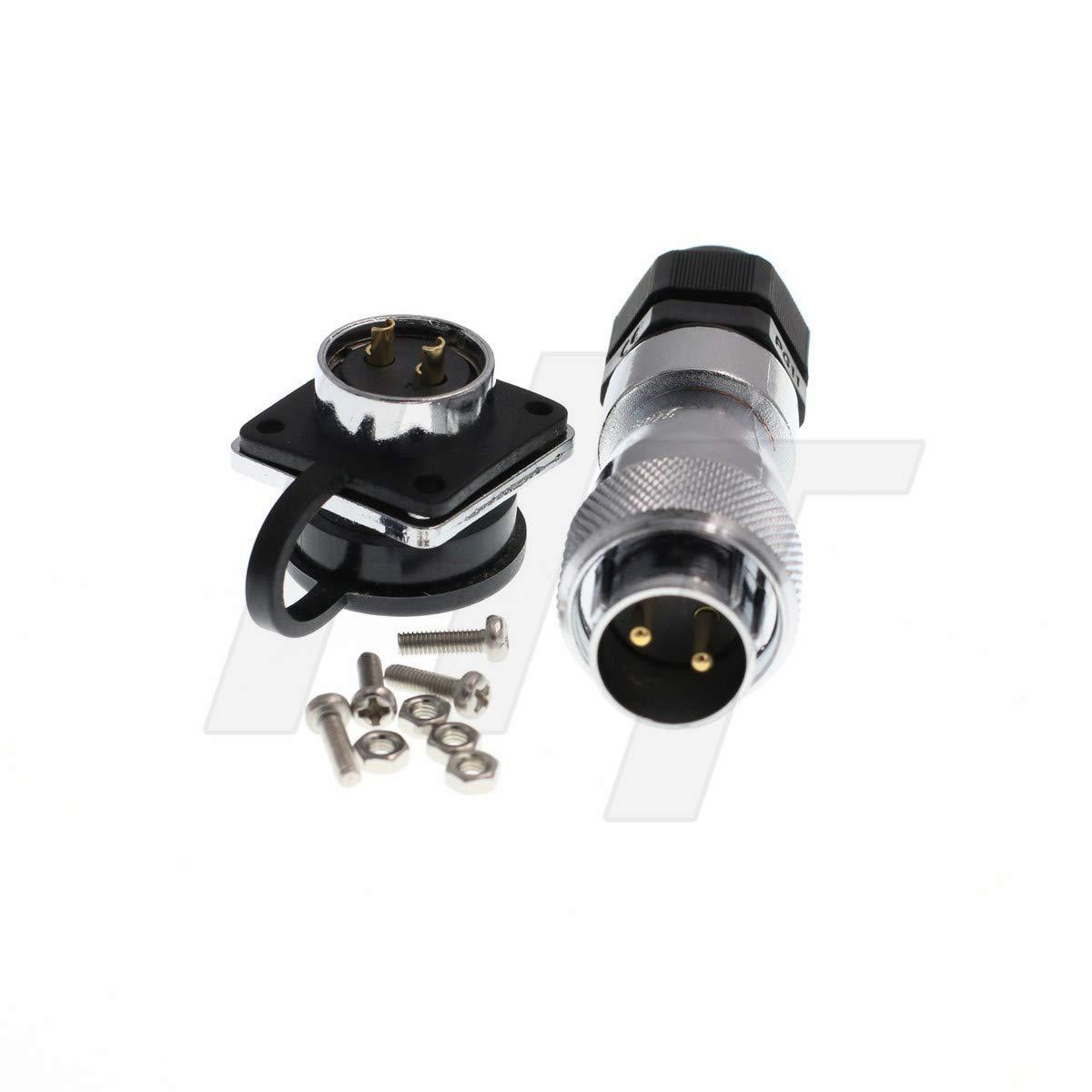 HangTon HF20 Circular Plug Panel Chassis Socket Metal Industrial Power Connector PG11 2 pin 500V 25A