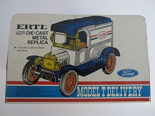 Collectible Ertl 1913 Ford Model T Delivery Car Die-Cast Locking Coin Bank 1/25 -