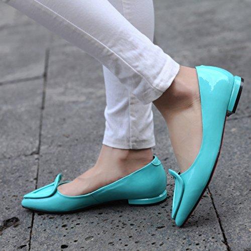 de plana de zapatos metal casuales ZHZNVX punta Nuevos Black hebilla y de mujer plana 4SXWUnRU