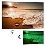 Glow in the Dark Canvas Painting - Stretched and Framed Giclee Wall Art Print - Beach Ocean Morning Waves - Master Bedroom Living Room Decor - 6 Hours Glow