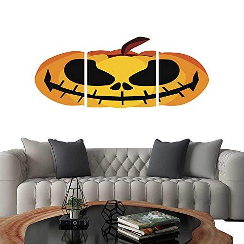 (UHOO Modern Canvas Painting Wall Art Isolated Vector Yellow Orange Festive Scary Halloween Pumpkin Icon. Triple Art Stickers)
