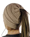 C.C BeanieTail Cotton Blend All Season Daily Messy High Bun Ponytail Beanie Hat