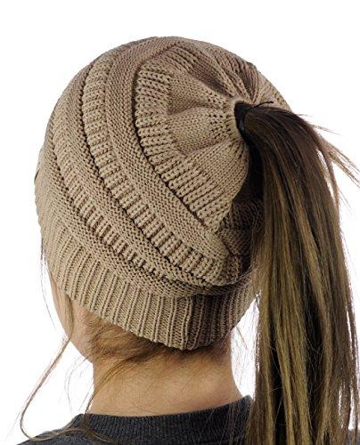 C.C BeanieTail Cotton Blend All Season Daily Messy High Bun Ponytail Beanie Hat