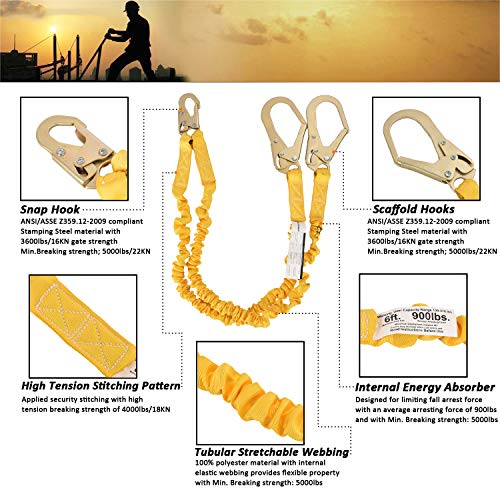 WELKFORDER Double Leg 6-Foot Fall Protection Internal Shock Absorbing Stretchable Safety Lanyard with Snap & Rebar Hook Connectors ANSI Complaint by WELKFORDER (Image #4)