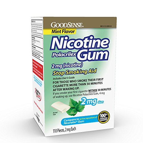 GoodSense Nicotine Polacrilex Gum 2mg, Mint Flavor, 110-count, Stop Smoking Aid, GoodSense Smoking Cessation Products (Smoking With A Nicotine Patch On Side Effects)