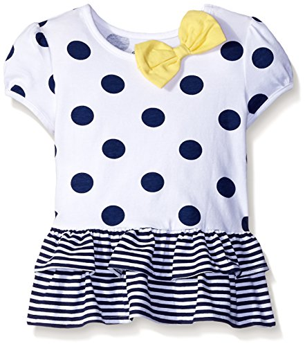 Gerber Graduates Little Girls' Toddler Short Sleeve Drop Waist Top with Hemmed Double Ruffle, Navy Polka Dot, (Pretty Girl Outfits)