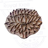 Hand Carved Printing Stamp Brass Lotus Designs Wood Pottery Block
