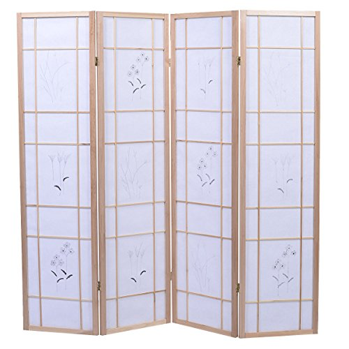 4 Panel Flowered Room Divider Screen Style Shoji Solid New Wood Natural by totoshop