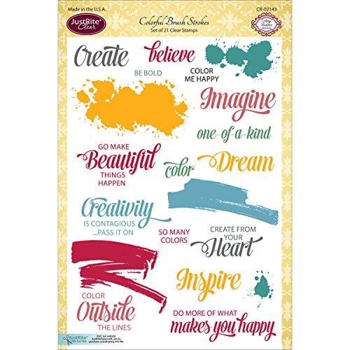 JustRite Papercraft Clear Stamp Set, 6 by 8-Inch, Colorfu...