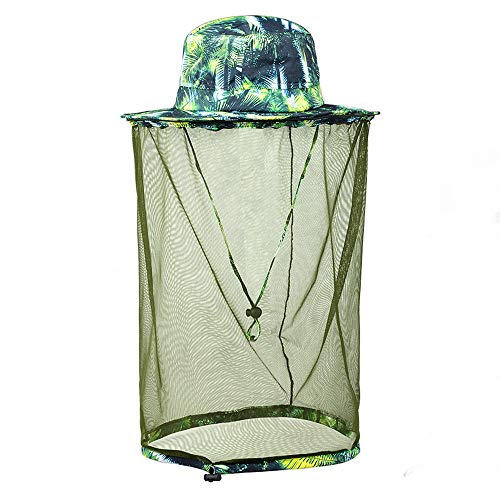DGou Outdoor Sun Hat with Mosquito Nets, Removable Mosquito Head Net Male and Female Protective Cap. (Green)