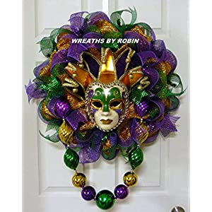 Mardi Gras Jester Mask Wreath, Fat Tuesday (3779) 57