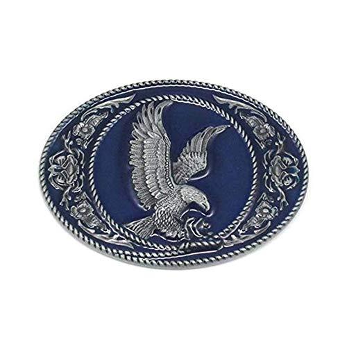 Western Eagle Belt Buckle for Men Cowboy Blue Enamel Leaf Oval Belt Buckle