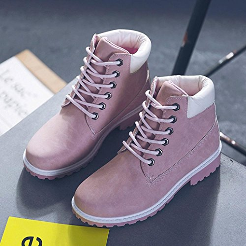 Mamum Women Ankle Boots, Ladies Leather Uppers Smart/Casual Fashion Lace Up Boots Work Boots Pink