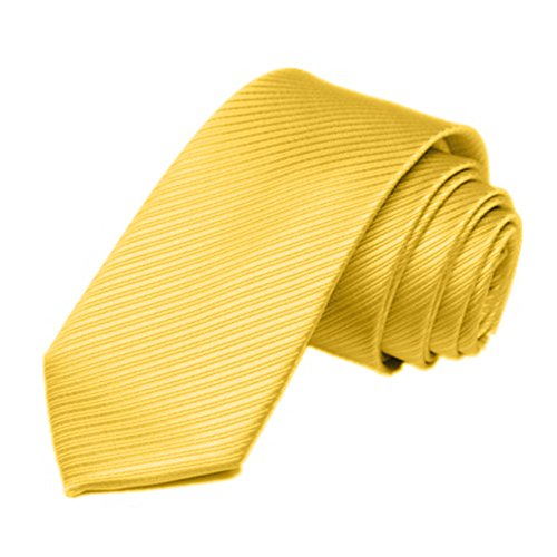 Tie Stripe Classic Gemini mall® Skinny Tie Mens Slim Plain Yellow Ties Woven Necktie wqvfnXrvE