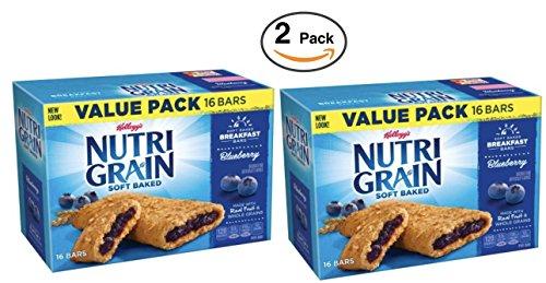 Kellogg's Nutri-Grain Soft Baked Breakfast Bars 1.3 oz 16 BARS (Blueberry, (2 Pack))