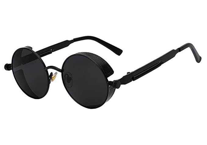 5ab114086 Men Round Mirror UV400 Steampunk Sunglass Women Retro Vintage Sun Glasses  (Black, 4.7)